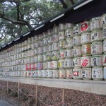 Sake Barrels outside Meiji Jingu